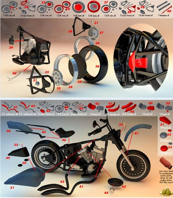An incredible and very precise custom Harley Davidson 3D printed by Maurizio Casella