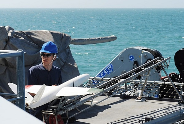 British Royal Navy test 3D printed drone at sea on board HMS Mersey