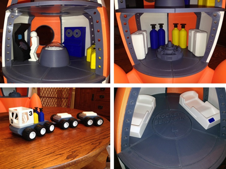 Amazing 3D Printed Rocket Ship and Moon Vehicle by Grandfather